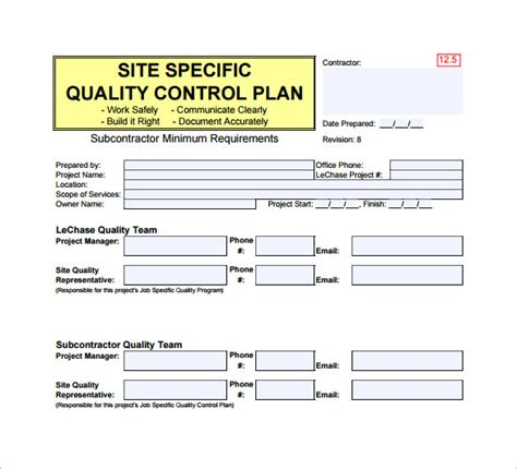 quality plan sle template construction quality assurance plan template templates
