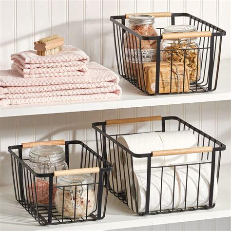 metal storage organizer basket  wood handles  matte