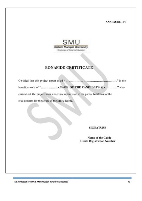 Mba Project Bonafide Certificate by Bonafide Certificate Format For Mba Project Gallery