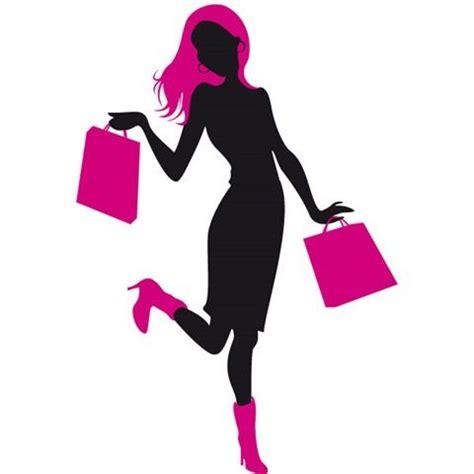 imagenes vectores compras dibujo de silueta de chica con bolsas compras en ambas