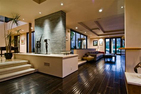 modern house interior big contemporary house with dark interior filled with