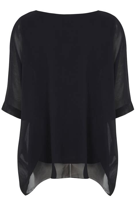 Black Batwing black batwing sleeve chiffon top with necklace plus size