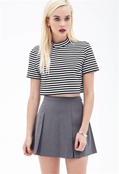 forever 21 pleated mini skirt in gray lyst