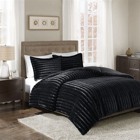 fur comforter sets madison park duke faux fur comforter mini set