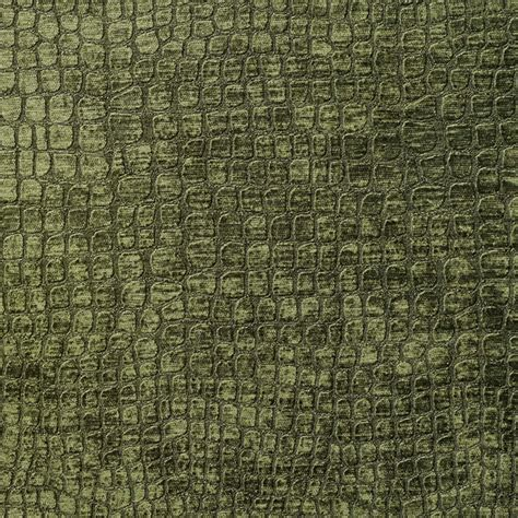 Dark Green Alligator Print Shiny Woven Velvet Upholstery
