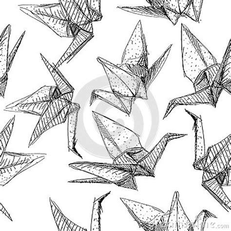 Origami Paper Cranes Set Sketch Seamless Pattern Black | origami paper cranes set sketch seamless pattern black