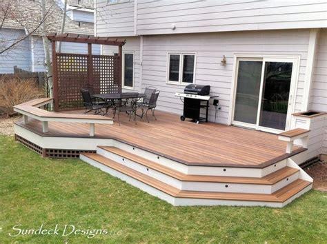 ground level patio ideas ground level evergrain deck deck other by sundeck