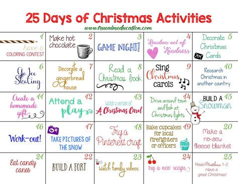 25 days of christmas office activities 25 days of activities advent calendar true aim