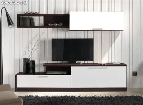 mueble de salon comedor color wengue  blanco conjunto