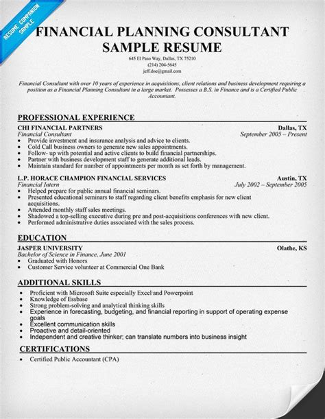 financial planning consultant resume sle