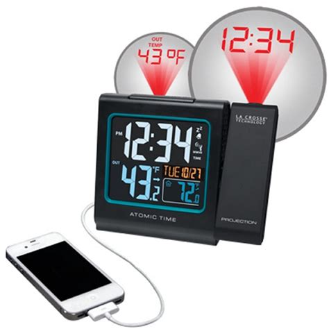 la crosse technology atomic projection alarm clock with in out temperature weather stations at