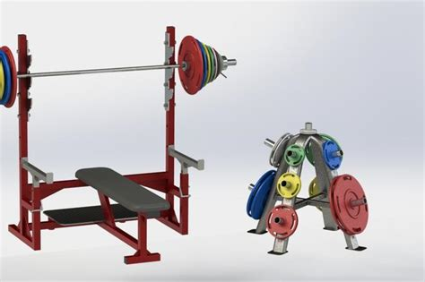 bench press kit with protection step iges 3d cad