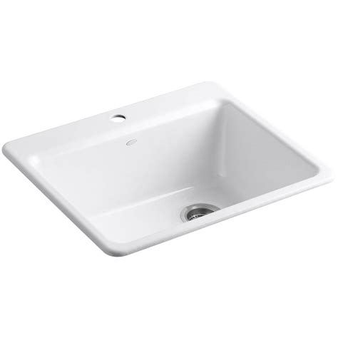 Kitchen Sink Basin Racks Kohler Riverby Drop In Cast Iron 25 In 1 Single Basin Kitchen Sink Kit With Basin Rack In