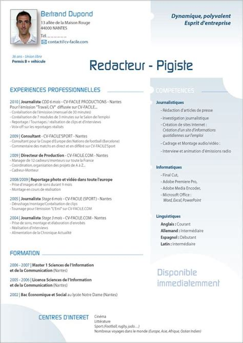 Modele Cv Original by Mod 232 Le Cv Original Exemple Cv Parfait Recherche Emploi