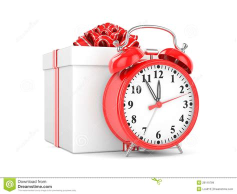 alarm clock and gift box royalty free stock images image