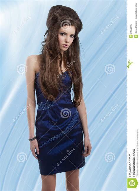who is the brunette in the blue dress in the viagra add brunette in short blue dress royalty free stock photo