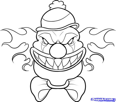 Easy Scary Drawings How To Draw An Evil Clown Easy Youtube Drawing Sketch Library Drawings To Color