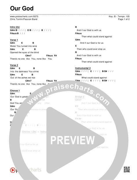 Our God Chord Chart Editable Chris Tomlin Passion
