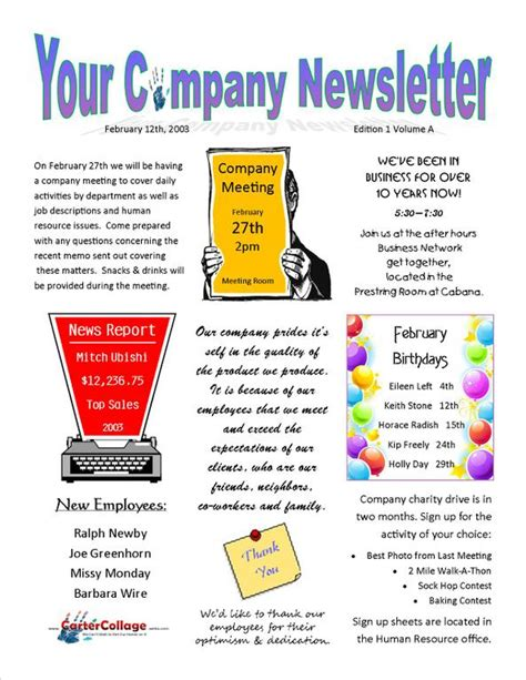 exle company newsletter jpg from carter collage in