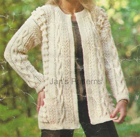 knitting pattern aran cardigan long line aran jacket cardigan knitting by