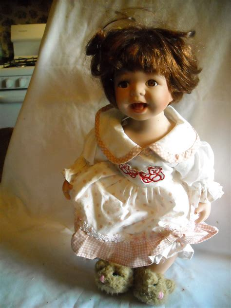 Duck House Heirloom Porcelain Doll White Dress With Pink Polka Dots 14 Quot