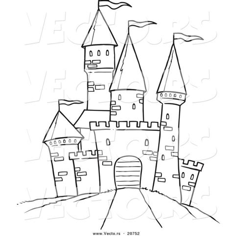 castle outline coloring page printable black and white art vector of a cartoon path