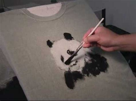 acrylic painting clothes painting panda on t shirt in acrylic paints