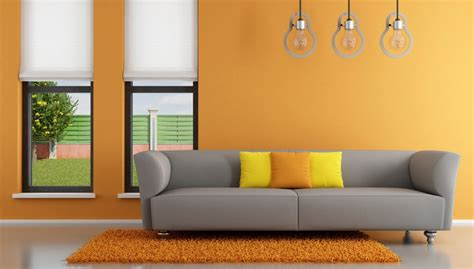 couch wall interior rendering orange walls gray couch 3d house