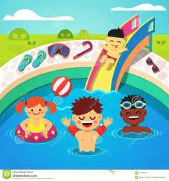 Inflatable Backyard Pool Kids Having A Pool Party Happy Swimming Stock Vector
