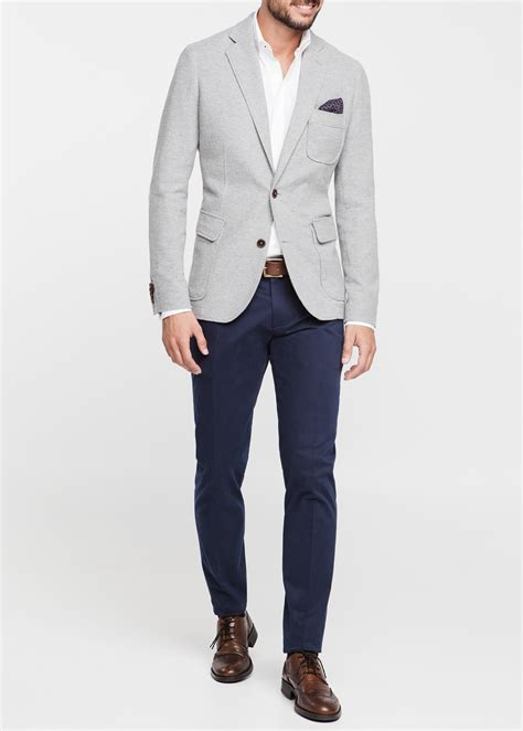 grey blazer mango cotton pique blazer in gray for men lyst