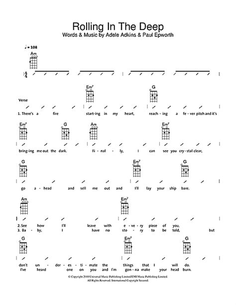 printable lyrics rolling in the deep ukulele ukulele tabs adele ukulele tabs adele ukulele