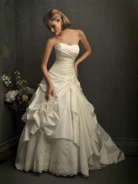ivory strapless ball gown unique formal wedding dress