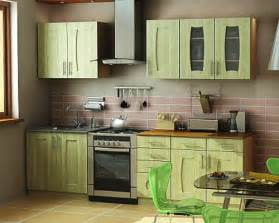 Kitchen cabinets in light green color wooden kitchen design