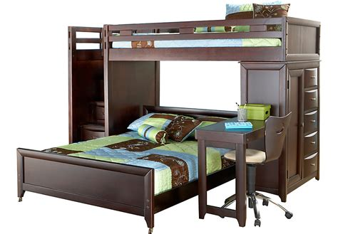 Ivy League Cherry Twin Full Step Loft Bunk With Chest And Bunk Bed With Desk