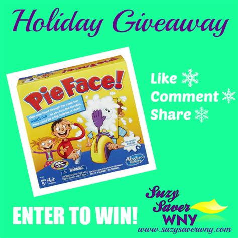 Holiday Giveaways 2016 - holiday giveaways enter to win pie face game