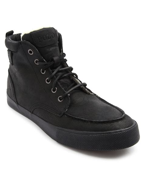 polo leather sneakers polo ralph ted lined black leather sneakers in
