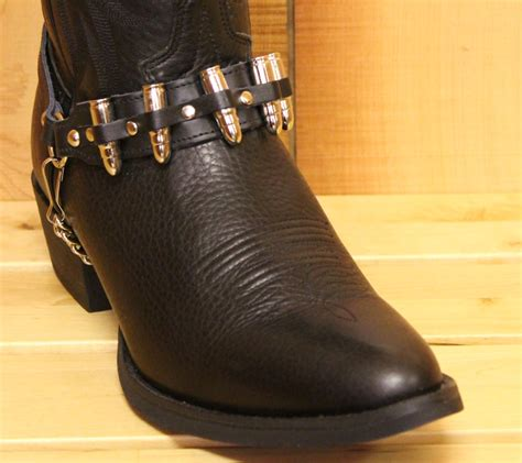 boot straps alm silver bullet boot black leather with nickel