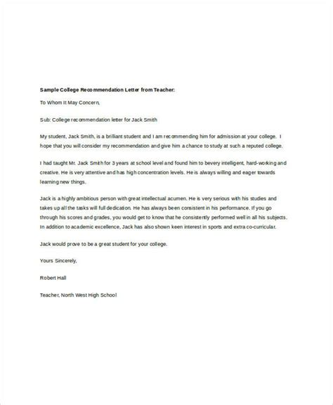 college recommendation letter template 8 college