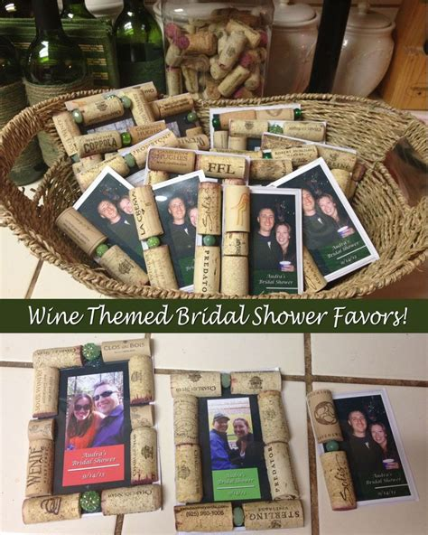 wine cork bridal shower favors wine themed bridal shower favors made with magnetic photo frames and wine corks wine themed