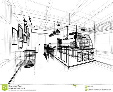coffee shop design dwg sketch design of coffee shop stock illustration image