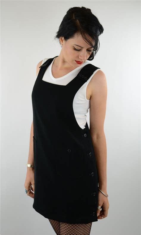 Mini Dress Gaun Import Black Bar Size M 296345 Black Tunic Pinafore Apron Mod Waitress Bar Cocktail Vtg