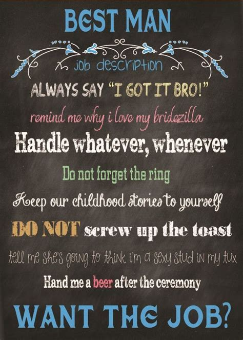 Best Man Card Chalkboard Will You Be My Best Man with Job