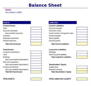 Balance Sheet Template Excel by Sle Balance Sheet 11 Documents In Word Pdf Excel