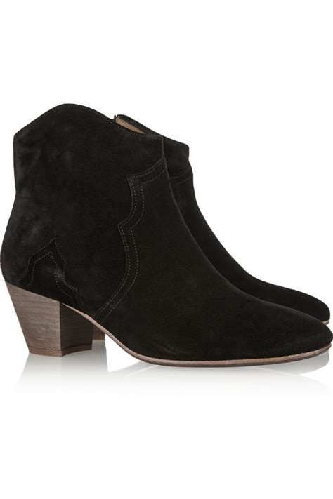 marant the dicker suede ankle boots in black lyst
