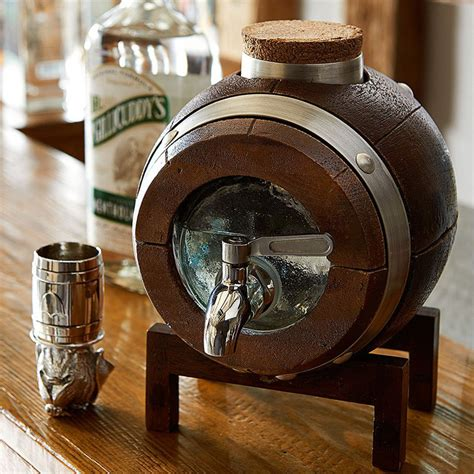 Unusual Coffee Tables whiskey barrel drink dispenser decanter so that s cool