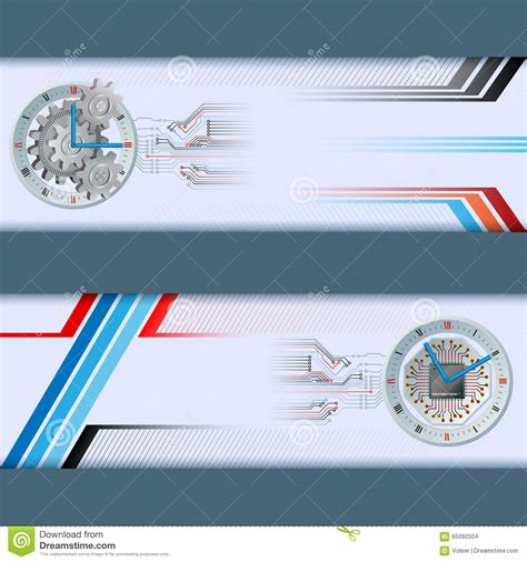 web design header layout set of banners with generic electronic and mechanic