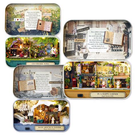 diy home decor gifts diy handwork assembly retro tin box cute room old time cottage with led home decor gift alex nld