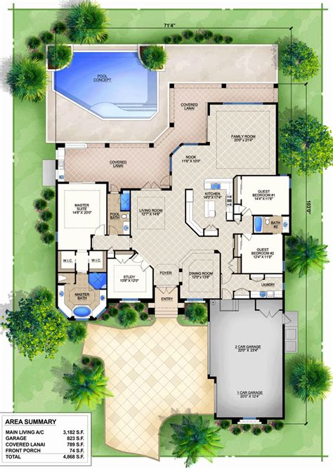 courtyard house plans with pool new mediterranean house