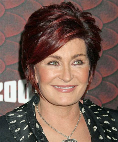 back view of sharob osbournes hair sharon osbourne short straight formal hairstyle