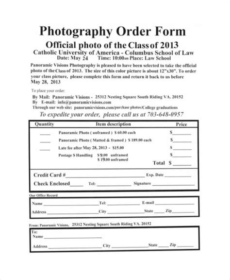 free photography order form template sle free printable order form 9 exles in word pdf